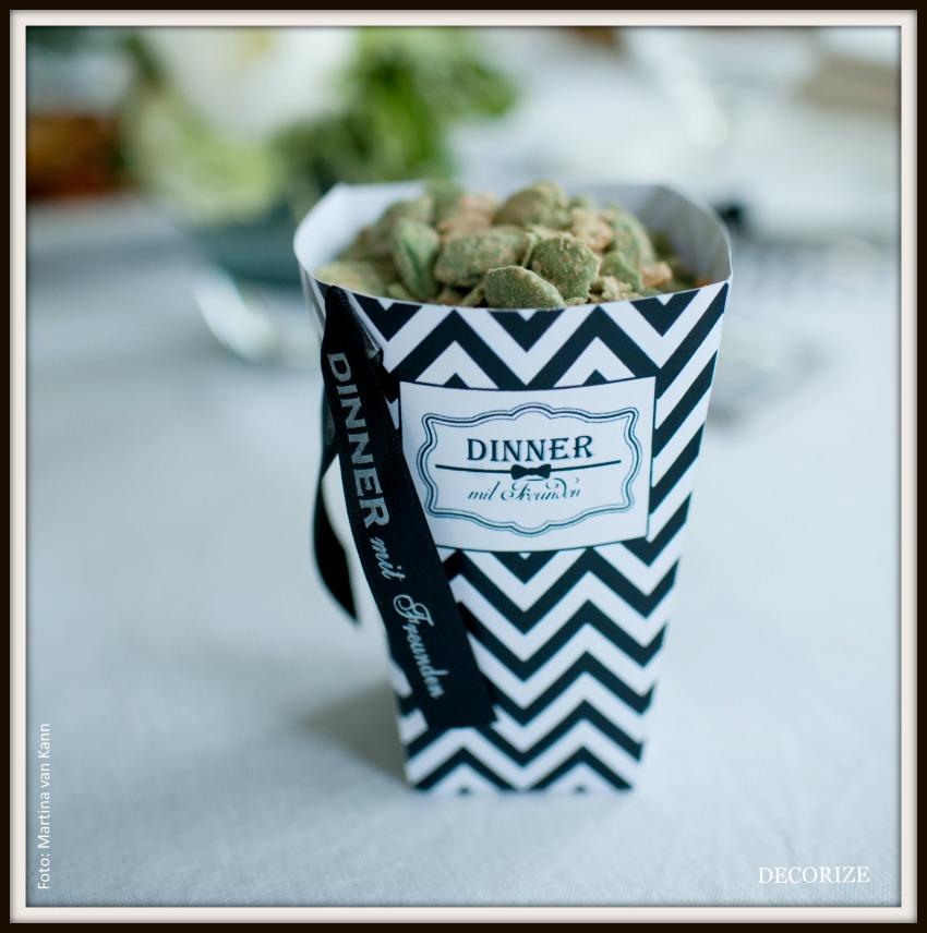 Tolle Partystyling-Ideen für ein Dinner mit Freunden: Snackbox als Printable
