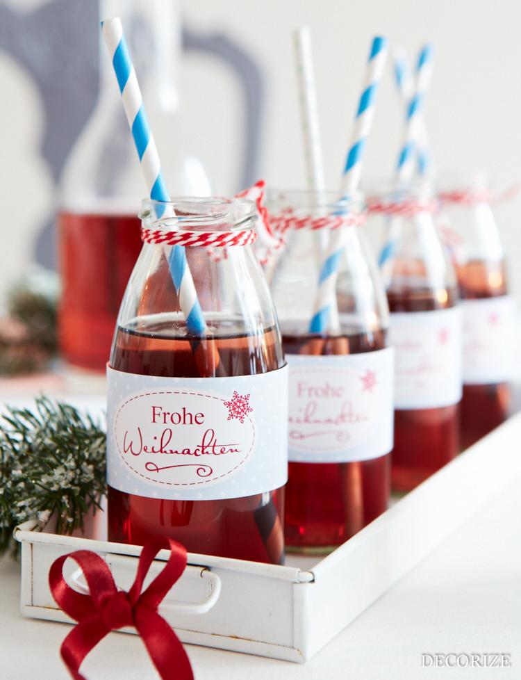 Tischdekoration zu Weihnachten: Flaschenbanderole - easy und schnell mit der Schmück-Kiste