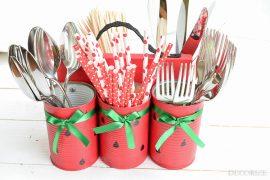 Messer, Gabel, Löffel rein und ab auf den Gartentisch - DIY-Besteck-Halter im Melonen-Look