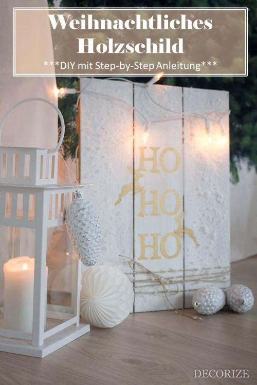DIY Holzschild mit Schnee + Licht zu Weihnachten
