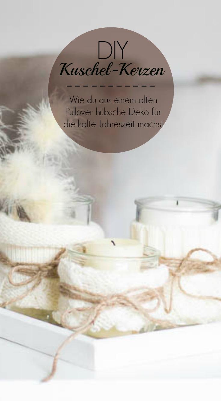 Kuschel-Kerzen für den Winter - DIY aus Pulli-Ärmeln