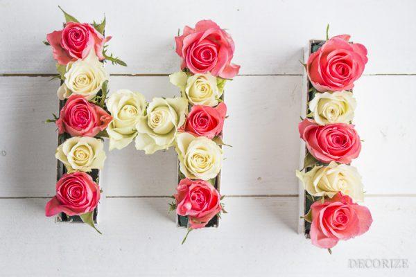 Sag Hi zum Frühling - DIY: Blumige Buchstaben für die Tischdeko