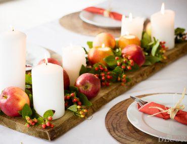 Herbstliche Tischdeko mit Äpfeln