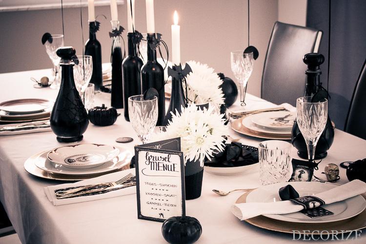 Pech Party Zu Halloween Partystyling In Schwarz Weiss Gold