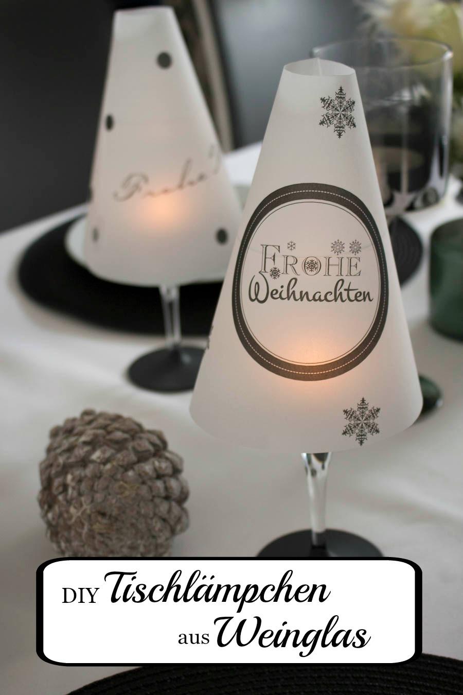 DIY Tischlämpchen aus Weinglas zu Weihnachten
