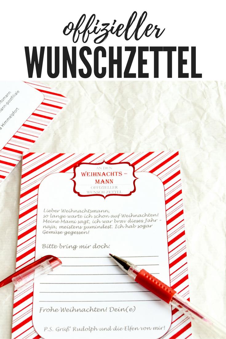 offizieller Wunschzettel an den Weihnachtsmann