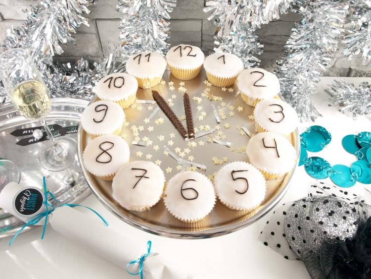 Cupcake Uhr für Silvester-Countdown