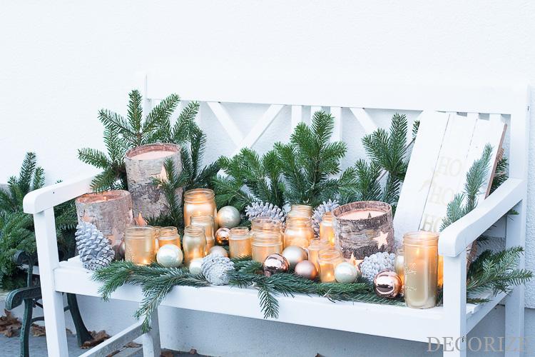 DIY Lichterbank mit Mason Jars