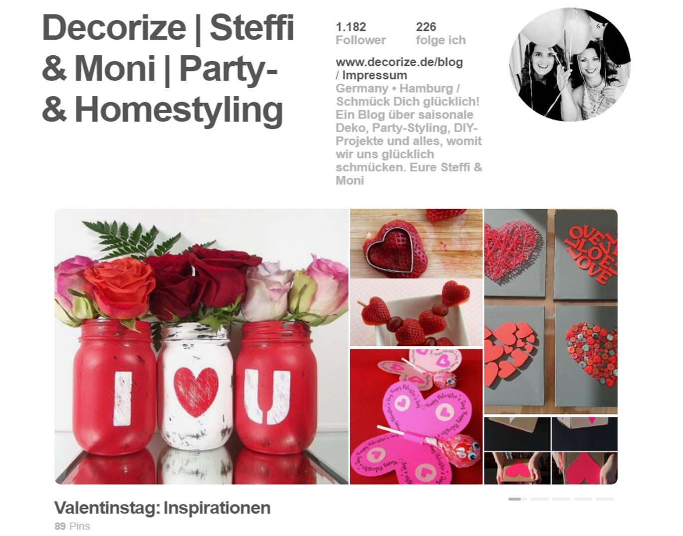 Decorize Valentinstag Pinterest Board
