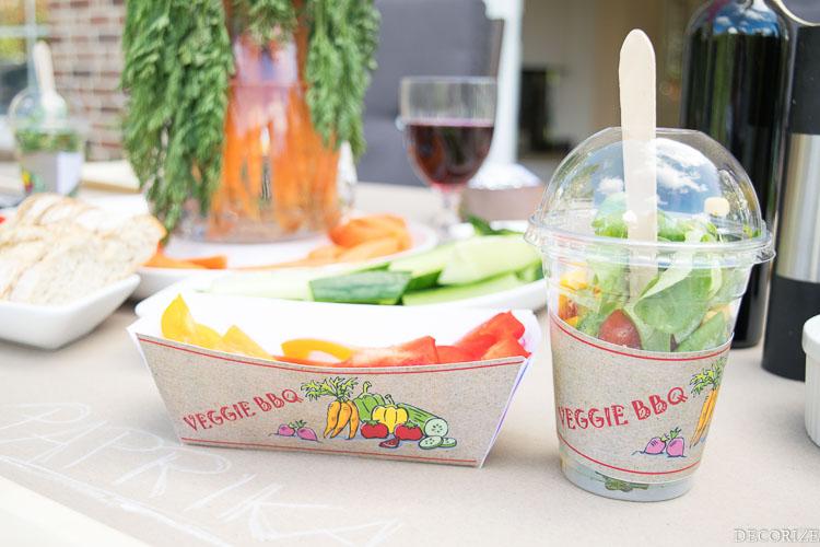 Veggie BBQ Tray und Wrapper Deko Printable