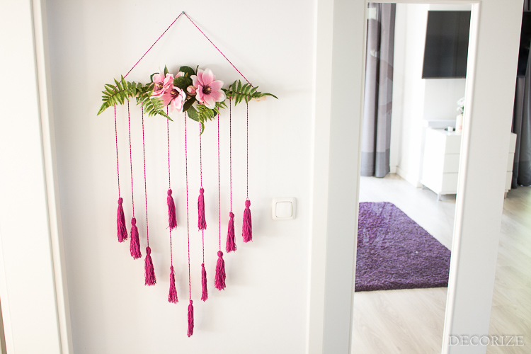 Diy wall art makram e wandbehang mit blumen deko - Makramee wandbehang ...