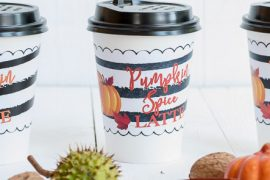 Pumpkin Spice Latte Wrapper - Freebie: Kaffeebecher-Banderole