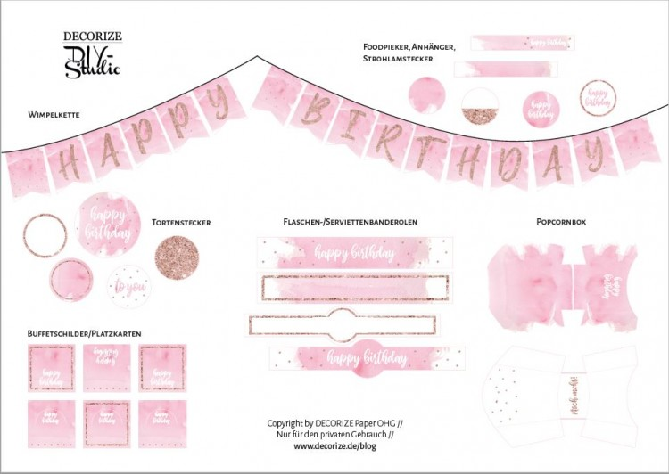 Printable Happy Birthday Roségold übersicht