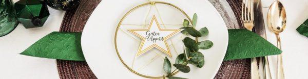 Weihnachtliche Metallic Tischdeko: DIY-Sternenkranz
