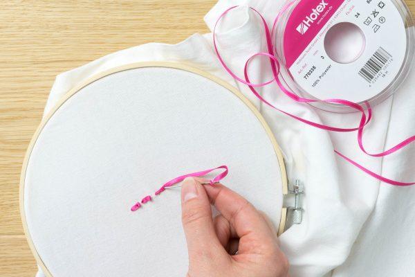 Sticken mit Schleifenband - Schritt-für-Schritt-Anleitung