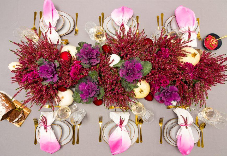 Herbstliche Tischdeko mit Heide und Roter Beete