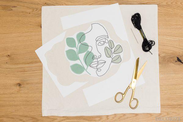 Line Art Stickvorlage zum Aufbügeln mit Bügelfolie auf Kissen. Free Download und Schritt für Schritt Anleitung