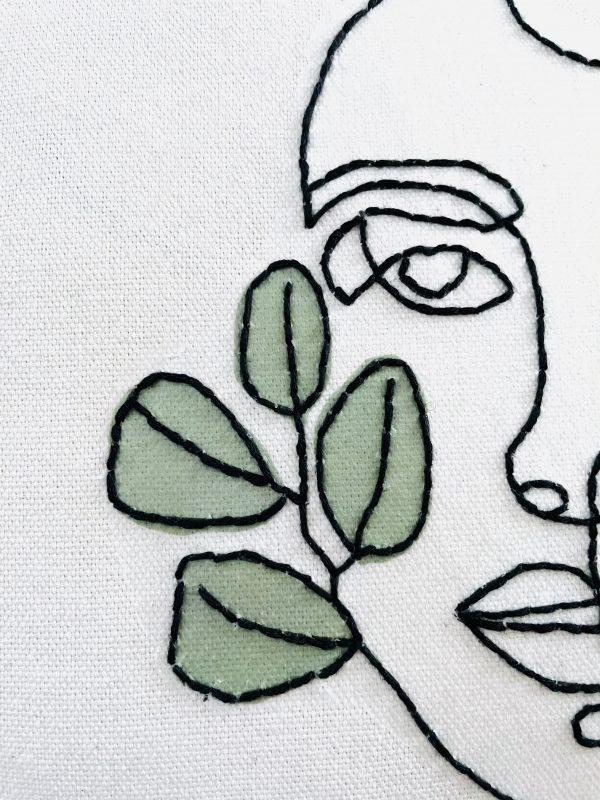 DIY Line Art Stickvorlage zum Aufbügeln auf Kissen